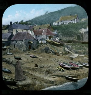 Cadgwith harbour, Cornwall. Late 1800s