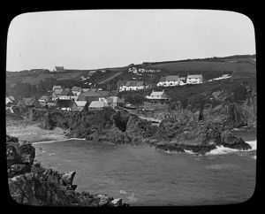 Cadgwith village and harbour, Cornwall. Late 1800s