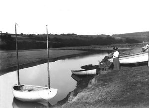 Calenick Creek from Brabyn's Boat House, Calenick, Cornwall. 1900s
