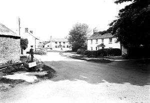 Centre of the village of St Tudy, Cornwall. 1959