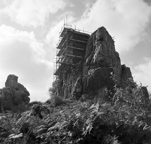 The chapel at Roche Rock under scaffolding, Roche, Cornwall. 1981