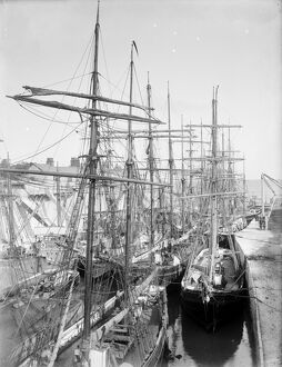 Charlestown harbour and shipping, Cornwall. Around 1914
