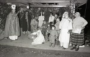 Christmas pageant, Lostwithiel, Cornwall. December 1980
