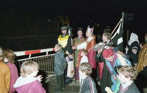 Christmas pageant, Lostwithiel, Cornwall. December 1983