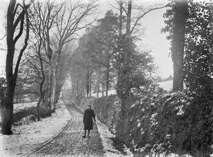 Coosebean Lane in the snow, Kenwyn, Cornwall. Early 1900s