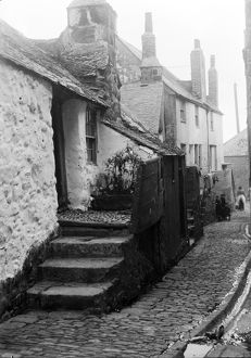 Cottages in Bailey's Lane, St Ives, Cornwall. 1900