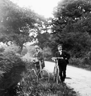 Cycling at Ponsanooth, Cornwall. 1902