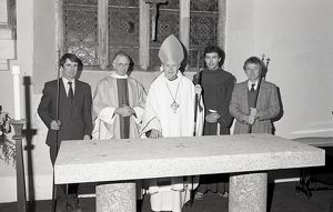 Dedication of new altar at Lanlivery, Lostwithiel, Cornwall. November 1981
