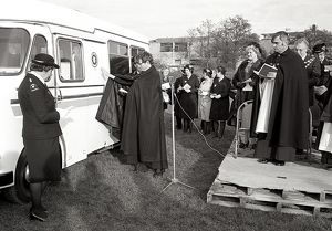 Dedication of St John Ambulance, Lostwithiel, Cornwall. November 1981
