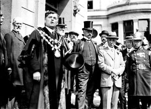 Dignitaries at the Cornwall County Fire Brigade annual demonstration, Helston, Cornwall. 19th August, 1913
