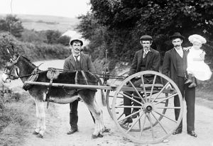 Donkey shay with E.J Hampton and others in Calloose Lane, Leedstown, Hayle, Cornwall