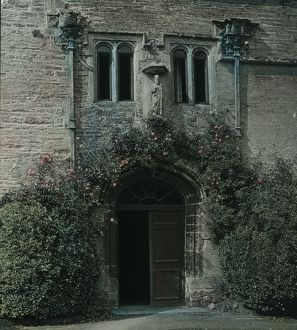 Entrance doorway to Lanherne Convent, Cornwall. Around 1925