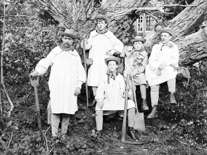 Farmhands in smocks, Cornwall. Early 1900s