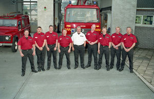 Firefighters, Lostwithiel Community Fire Station, Lostwithiel, Cornwall. May 1995