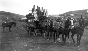 'First & Last' coach with passengers, Cornwall. 1920s