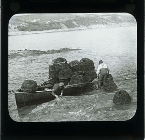 Fishermen with crab pots, Gerrans, Cornwall. Around 1900