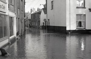 Flooding, Parade Square, Lostwithiel, Cornwall. 28th December 1979