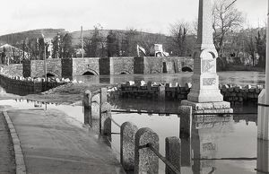 Flooding, Tudor bridge, Lostwithiel, Cornwall. 28th December 1979