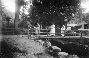 Footbridge over stream, St Mawgan in Pydar, Cornwall. Early 1900s