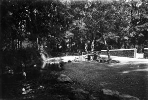 Ford and footbridge over stream, St Mawgan in Pydar, Cornwall. Early 1900s