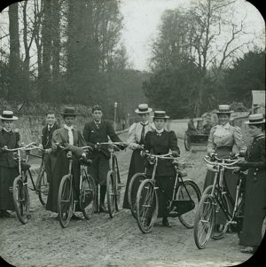 A group of cyclists, Cornwall. Around 1900