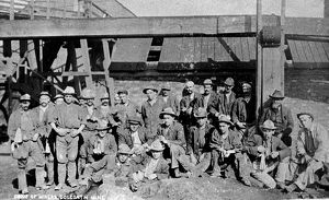 Group of Miners, Dolcoath Mine, Camborne, Cornwall. Probably early 1900s