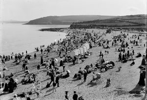 Gyllyngvase Beach, Falmouth, Cornwall. Early 1900s