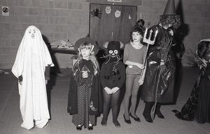 Halloween fancy dress competition, Lostwithiel, Cornwall. October 1984