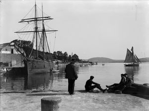 Harbour scene with the 'Guiding Star', Padstow. Cornwall. June 1906