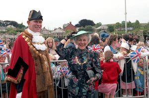 Queen's visit, Lostwithiel, Cornwall. June 1989