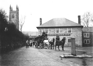 Horse Bus, St Stephen in Brannel, Cornwall. Early 1900s