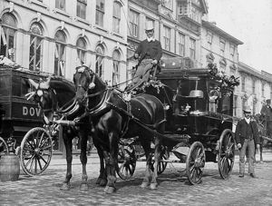Horse and carriage from the Royal Hotel, Boscawen Street, Truro, Cornwall. Early 1900s