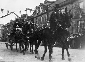 Horse drawn carriage in Boscawen Street, Truro, Cornwall. Possibly 1911