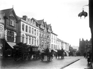 Horse drawn vehicles, Boscawen Street, Truro, Cornwall. Around 1910