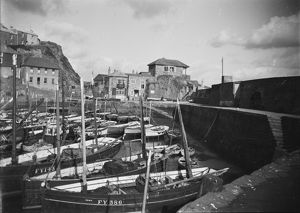 Inner harbour, Mevagissey, Cornwall. Early 1900s