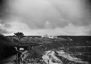 Invalid's Walk, overlooking Castle Beach, Falmouth, Cornwall. Early 1900s