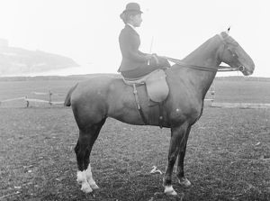 Lady riding side-saddle, Newquay, Cornwall. Early 1900s