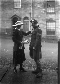 Lady and soldier on Flag Day, Lemon Street, Truro, Cornwall. 18th October 1916