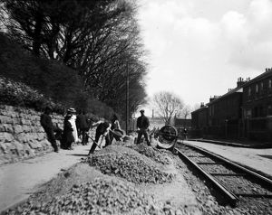 Laying track for the Camborne Redruth tramway, Redruth, Cornwall. Around 1902