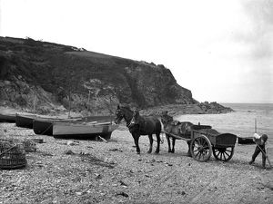 Loading and carting shingle at Porthallow, St Keverne, Cornwall. July 1912