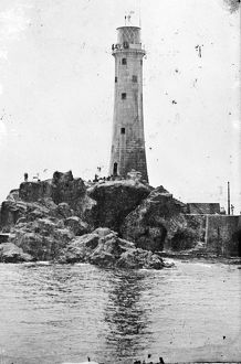 Longships lighthouse, Cornwall. Around 1874