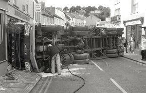 Lorry crash, Lostwithiel, Cornwall. September 1990