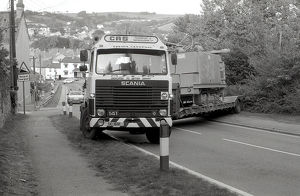 Lorry crash, Lostwithiel, Cornwall. August 1987