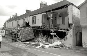 Lorry crash, Lostwithiel, Cornwall. May 1985
