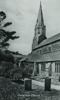 Lostwithiel Church from the south side, Cornwall. Around 1925