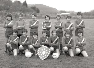 Lostwithiel CP School football team, Lostwithiel, Cornwall. March 1984