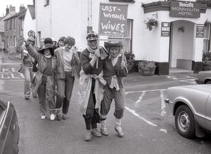 Lostwithiel Wives sponsored walk, Lostwithiel, Cornwall. October 1982