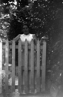Mabel at gate at The Lizard, Cornwall. 1904