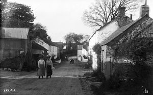 The main road in Zelah, St Allen, Cornwall, looking west. Early 1900s