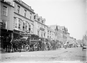 Market day in Boscawen Street, Truro, Cornwall. Around 1910